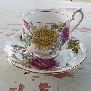 Vintage Chrysanthemu Bone China tea cup and saucer